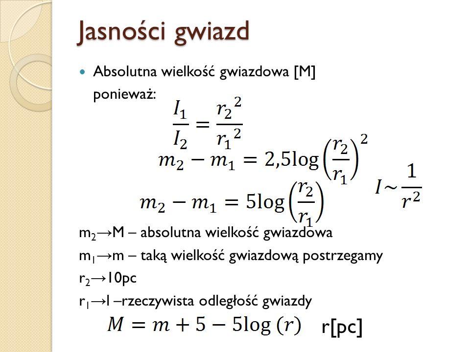 Jasności gwiazd Absolutna wielkość gwiazdowa [M] ponieważ: